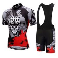Crossrider 2019 Summer Men's SKULL Short Sleeve Cycling Clothing MTB Jerseys Bib Sets Maillot Ropa Ciclismo Bike wear Clothes