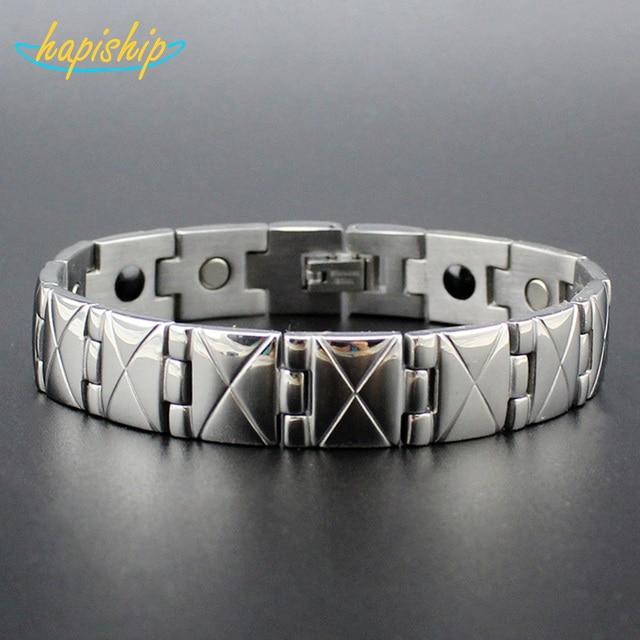 Hapiship Silver Men's Health Bracelets & Bangles Magnetic H Power Stainless Steel Charm Bracelet Jewelry For Man TG4328