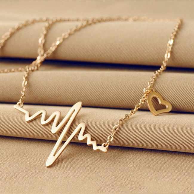 דופק גל רל שרשרת לב אהבה רומנטית סגולה שרשרת תליון פעימות לב זהב כסף שרשרת תכשיטי נשים