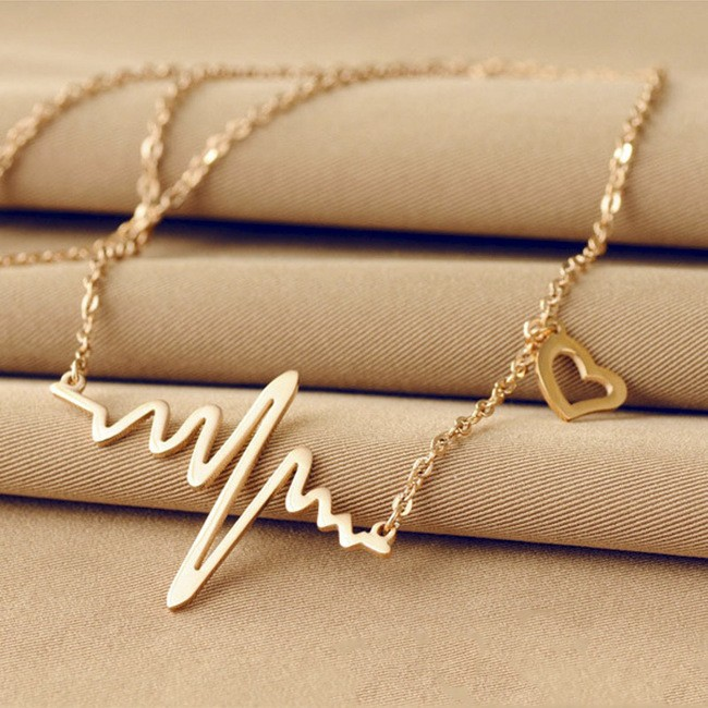 Simple Wave Heart Necklace Chic ECG Heartbeat Gold Plated Pendant Charm Lightning Necklace for Women Vintage Jewelry Accessories