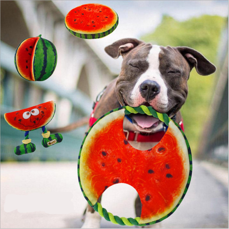 Diameter 19cm Canvas Watermelon Designed Dog Toy Pet Chewer Teething Aid Tug Rope