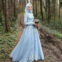 Light Blue Muslim Evening Dresses With Hijab Appliques Lace Long Sleeve High Neck Saudi Arabia Evening Party Gowns Dubai Kaftan
