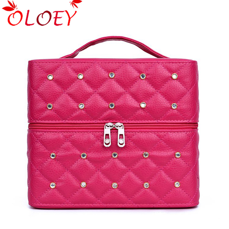 OLOEY Brand Women Cosmetic Box Makeup Bag Female Diamond Professional Cosmetic Bag Women Three Layers Makeup