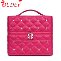 OLOEY Brand Women Cosmetic Box Makeup Bag Female Diamond Professional Cosmetic Bag Women Three Layers Makeup Case Pouch Necese