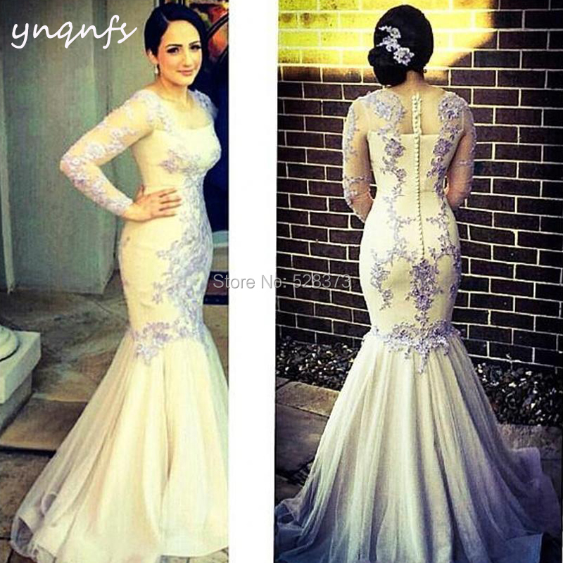 YNQNFS ED241 Long Sleeve Mermaid Muslim ivory Abiye   Bridesmaid     Dresses   Yellow/Grey Party Formal   Dress   Lace Elegant 2019