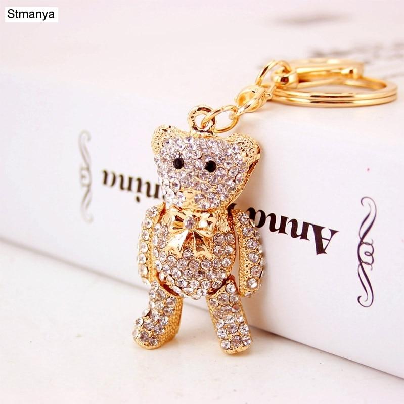 Hig Qualty Crystal Bear Key Chain Holder Rhinestone Keychain Car Key Ring For Holder Bag KeyChains For Birthday Friend Gift 1589