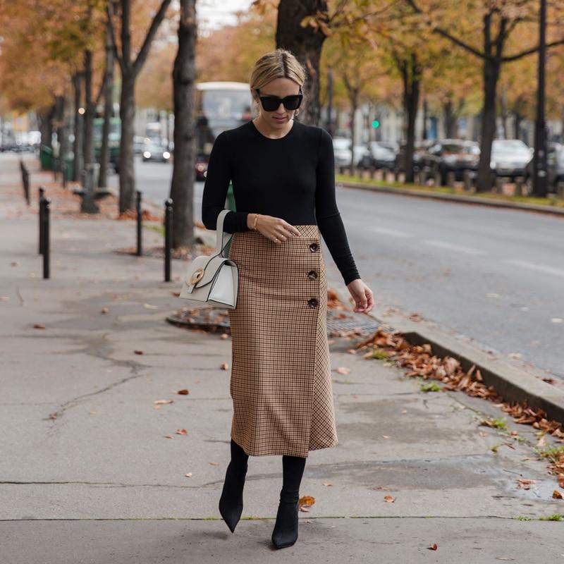 PADEGAO Retro female hight Waist woolen midi Skirt new spring Lattice style Women Clothing saias longas celebrity fashion