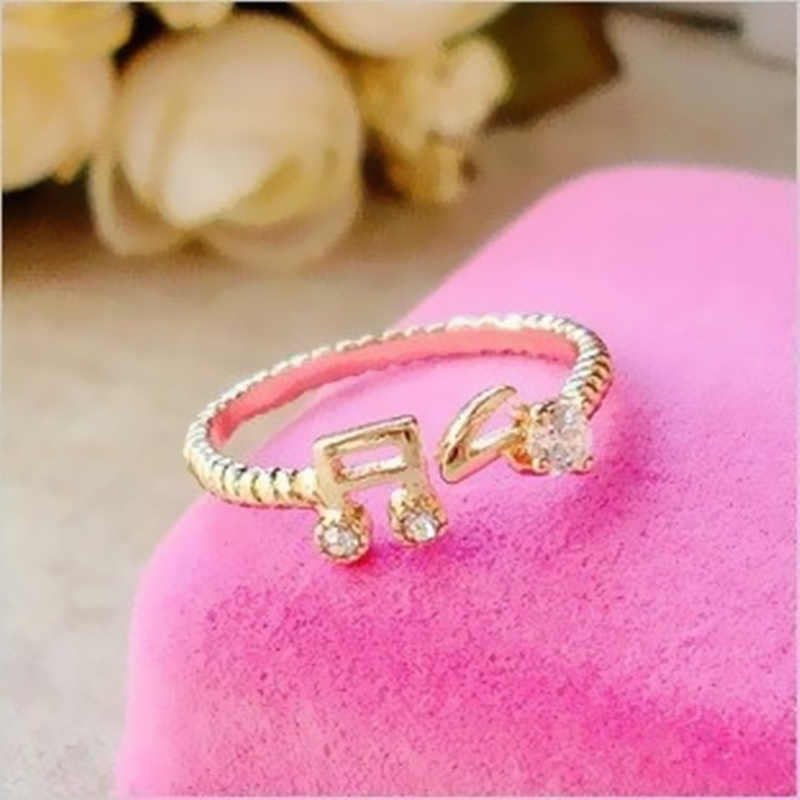 2019 HOT 15mm size fashion cute music-symble ring for women Party Jewelry Wedding Valentine's Day Gift Wholesale
