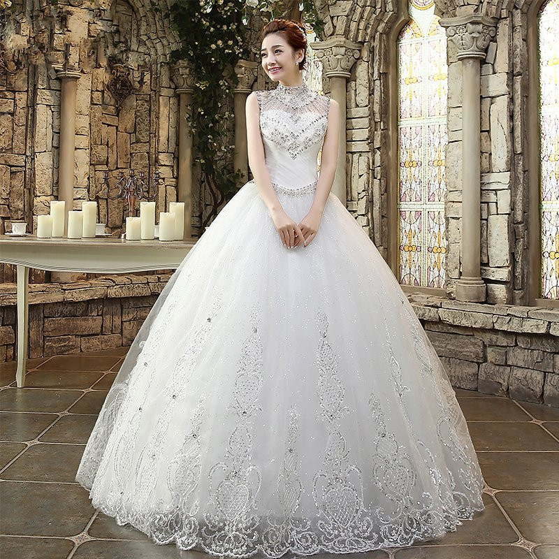 Jeweled Ball Gown Wedding Dresses: New White Romantic Ball Gown High Neck Beading Rhinestone