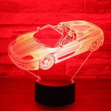 3D светодиодный ночник Roadster спортивный автомобиль с 7 цветов свет для украшения дома лампа удивительная визуализация Оптическая иллюзия