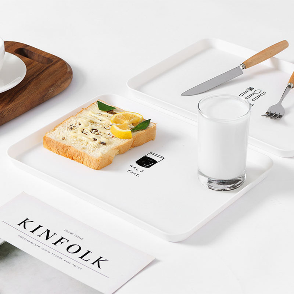 1pcs Plastic Nordic Style Serving Tray Meal Dessert Tea Tray Breakfast Bread Tray Snack Plate Storage Tray Kitchen Accessories