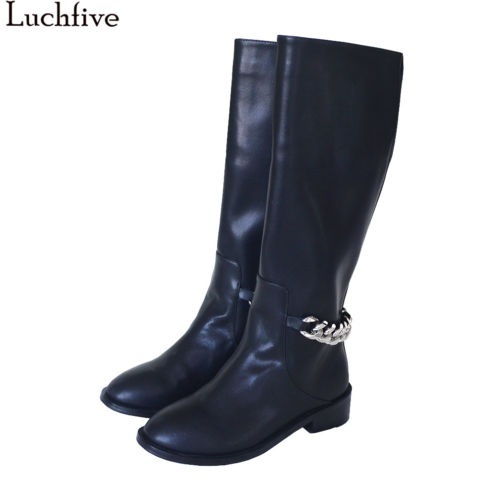 Fall winter shoes women knight knee high boots med heels metal chain decor long botas mujer chelsea ankle boots bota feminina stylish casual pure color and metal chain design women s knight boots