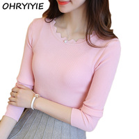 OHRYIYIE 2017 New Fashion Autumn Winter Basic Sweater Women Knit High Elastic Jumper Women Sweaters And