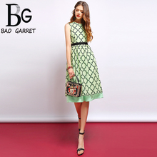 Baogarret 2019 Fashion Runway Summer Dress Womens Sleeveless Vintage Lace Patchwork Elegant Slim Midi vestidos
