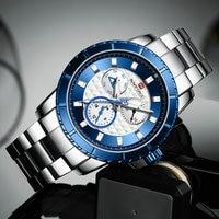 NAVIFORCE Casual Dress Watches Men Waterproof Army Quartz Watch Stainless Steel Strap Fashion Business Chronograph Wristwatch