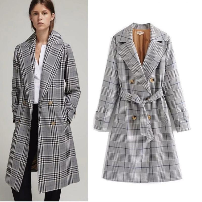 COZARII 2018   Trench   coat casaco feminino double single sashes striped pockets regular women bomber coat   Trench   plus size