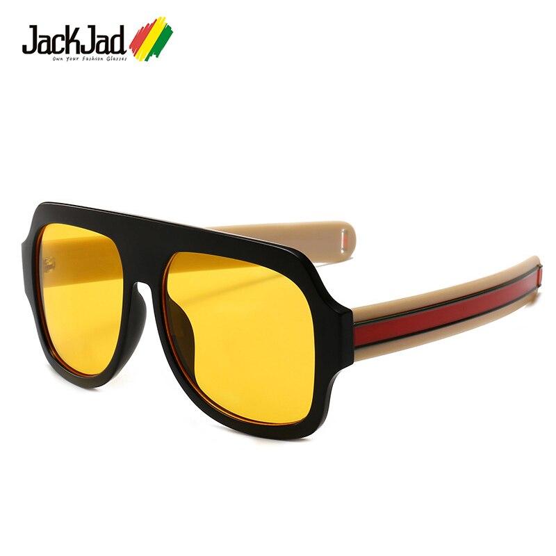 Jackjad 2018 moda listras grossas templo homem quadrado escudo estilo óculos de sol do vintage legal marca design óculos sol oculos de sol