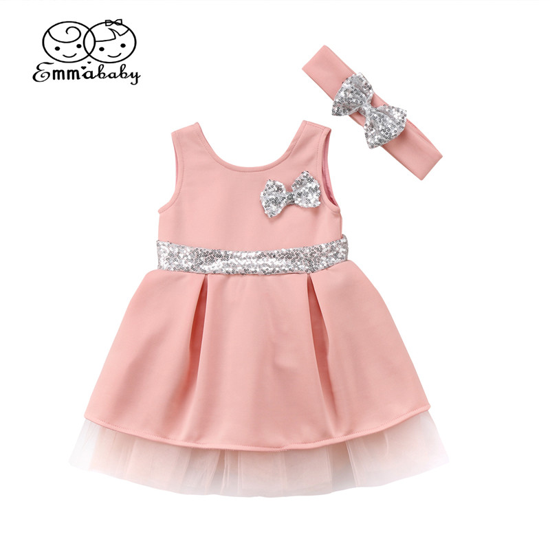 New Bowknot Dress For Girls Summer Cute Baby Girls Sleeveless Princess Tulle Dresses+Sequins Bowknot Headband Fashion Kids Dress