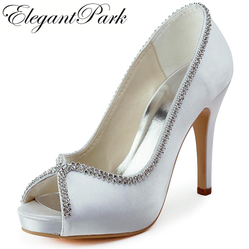 Woman Wedding bridal Shoes High heel platform White Ivory silver Satin lady female bride bridesmaid Party evening Pumps EP11083 new arrival white wedding shoes pearl lace bridal bridesmaid shoes high heels shoes dance shoes women pumps free shipping party