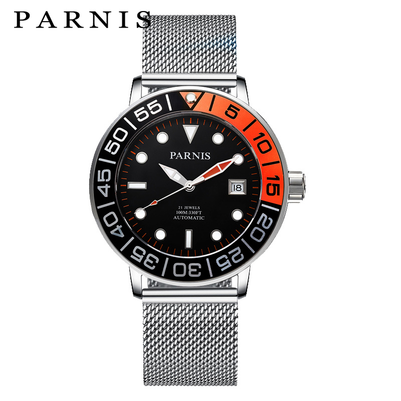 2017 Newest Mens Automatic Watch Parnis 42mm 100M Stainless Steel Mesh Band Luxury Luminous Mechanical Watch relogio masculino стоимость