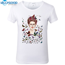 2017 New Frida Kahlo T-shirts Women Fashion Cotton Print Butterfly T-Shirts Short Sleeve Slim White Women Tops S526