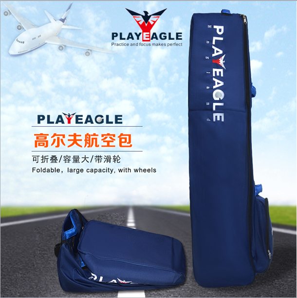 PLAYEAGLE Nylon Golf Travel Cover Bag with Wheels Thickening Pad Golf Holiday Travel Cover Case Waterproof Golf Cover Bag simulation mini golf course display toy set with golf club ball flag
