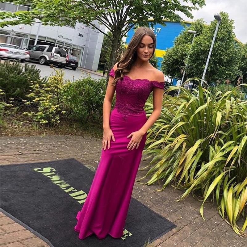 Off Shoulder Long   Prom     Dresses   Boat Neck Appliques Purple Color Full Length Women Party Evening Gowns Mermaid Vestido De Festa