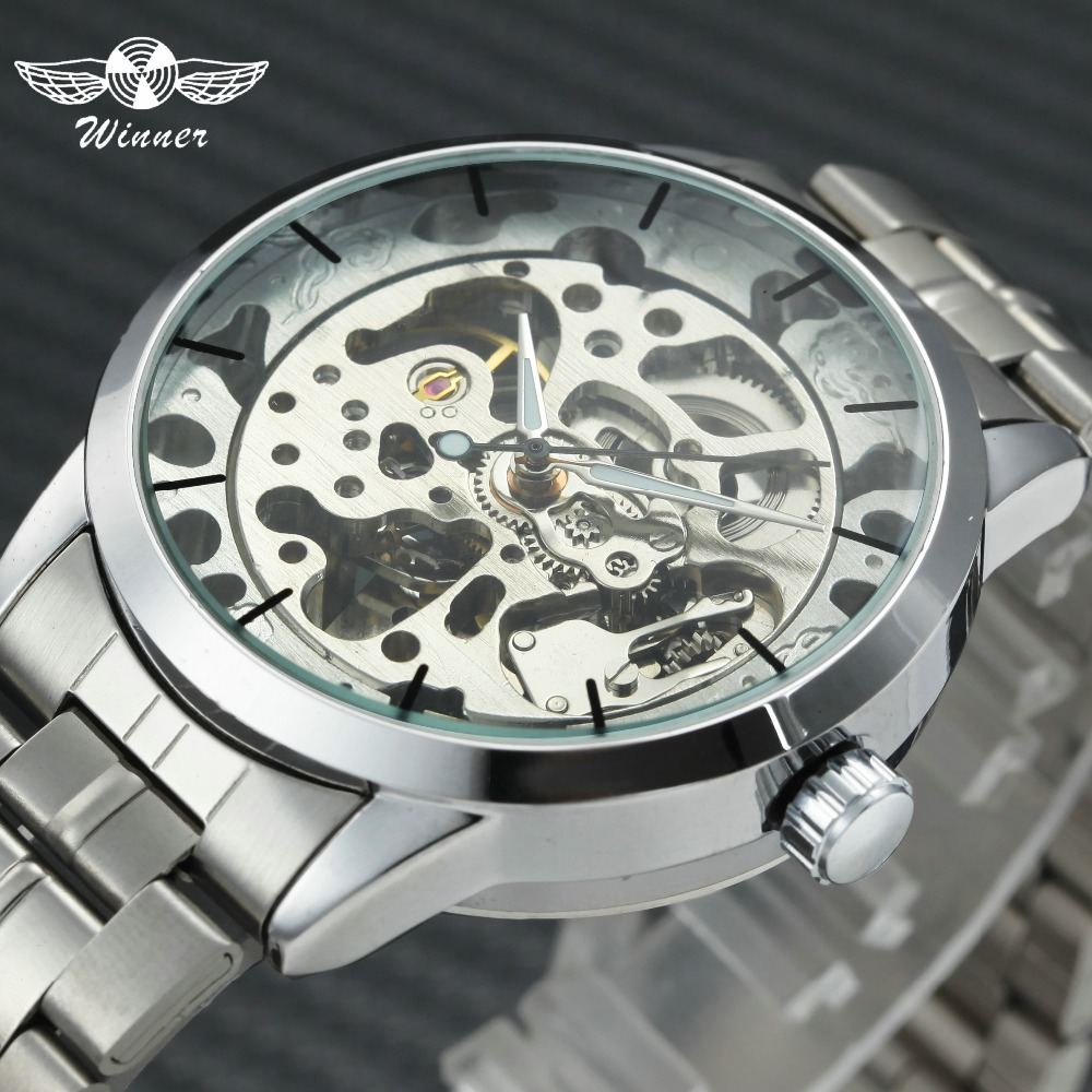WINNER Top Brand Luxury Watches Men Silver Stainless Steel Strap Skeleton Mechanical Wristwatches for Male Luminous Hands ClockWINNER Top Brand Luxury Watches Men Silver Stainless Steel Strap Skeleton Mechanical Wristwatches for Male Luminous Hands Clock