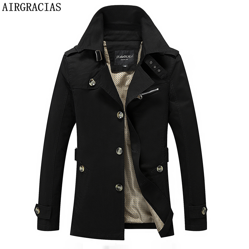 AIRGRACIAS Mens Trench Coat 2019 New Fashion Solid Color Men Long Coat Autumn Winter Single-breasted Windproof Slim Trench Coat