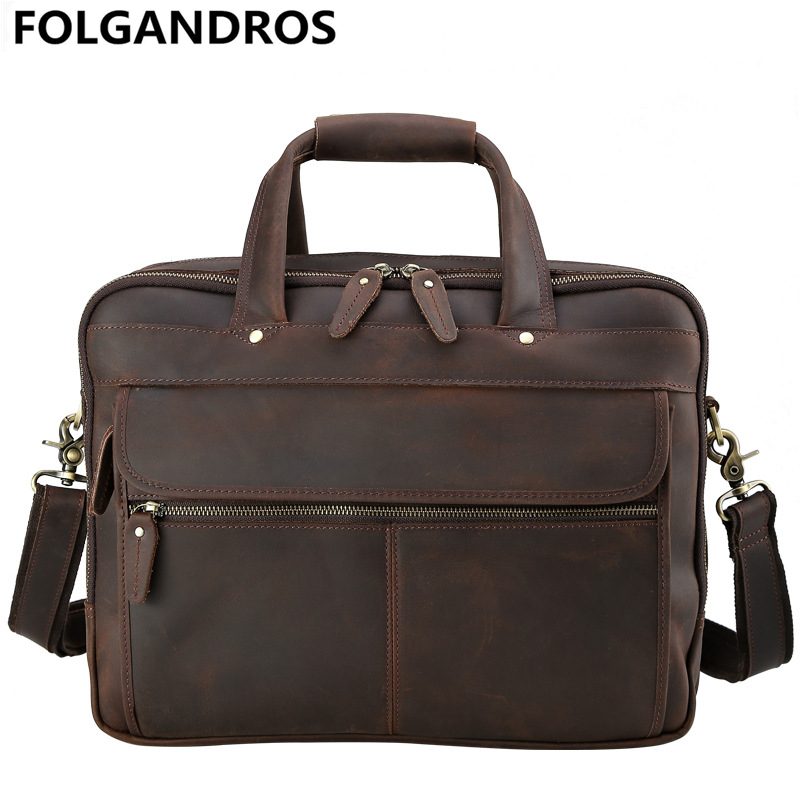 Men Cow Leather Briefcases 15.6