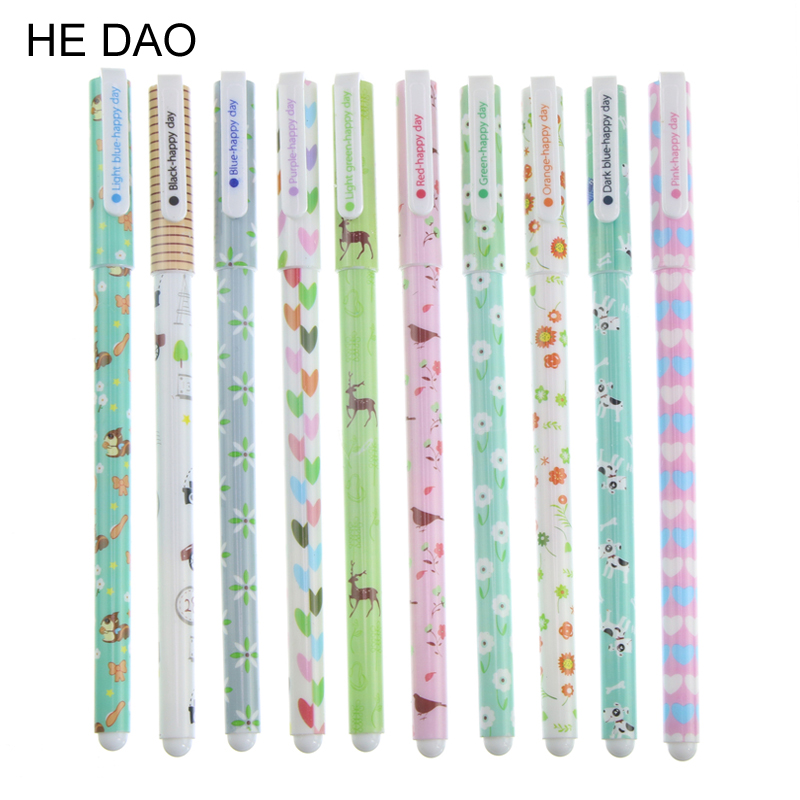 10 Pcs/lot Kawaii Cartoon Colorful Gel Pen Set Cute Korean Stationery Pens For Writting Office School Supplies Gift 10 pcs lot new cute cartoon colorful gel pen set kawaii korean stationery creative gift school supplies