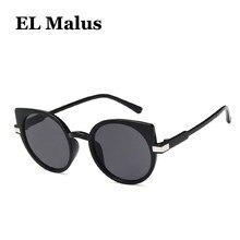 EL Malus  nueva Sexy gato ojo marco lente redonda mujeres sol UV400 rojo  negro espejo sombras gafas diseñador de moda 4f0466a8d2