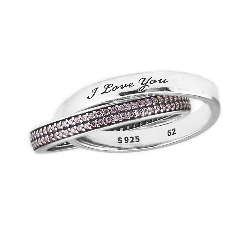 I Love You Ring 925 Sterling Silver Pink CZ Sweet Promise Wedding Engagement Rings For Women Silver 925 Jewelry Anillos Mujer