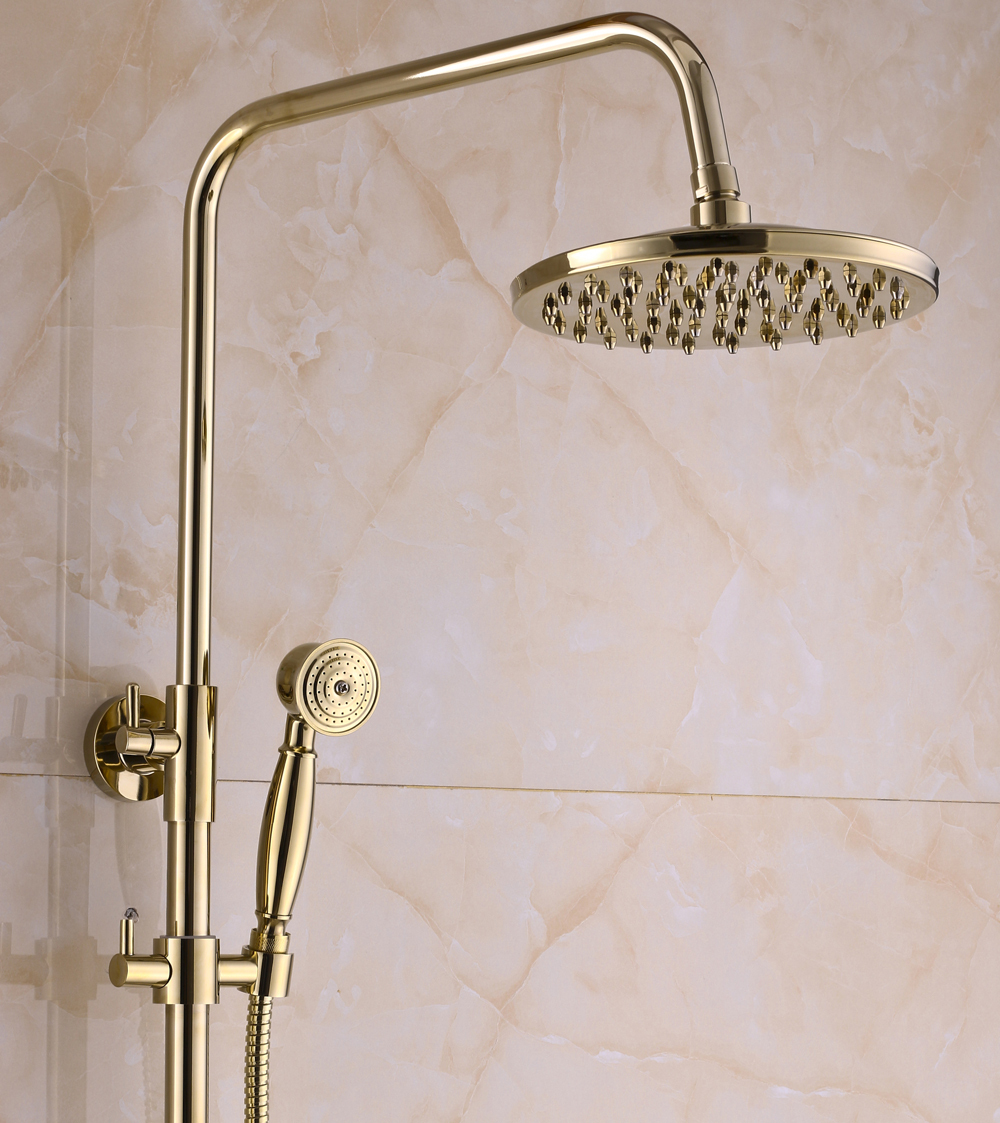 Wall Mount Bathroom Rainfall Shower Faucet System Gold Finish Mixer ...
