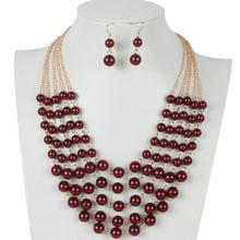 2017 Trendy Boho Women Fashion Five Layers Imitation Pearls Necklace Beads Necklace Gold Color Chain jewelry Beautiful White Red