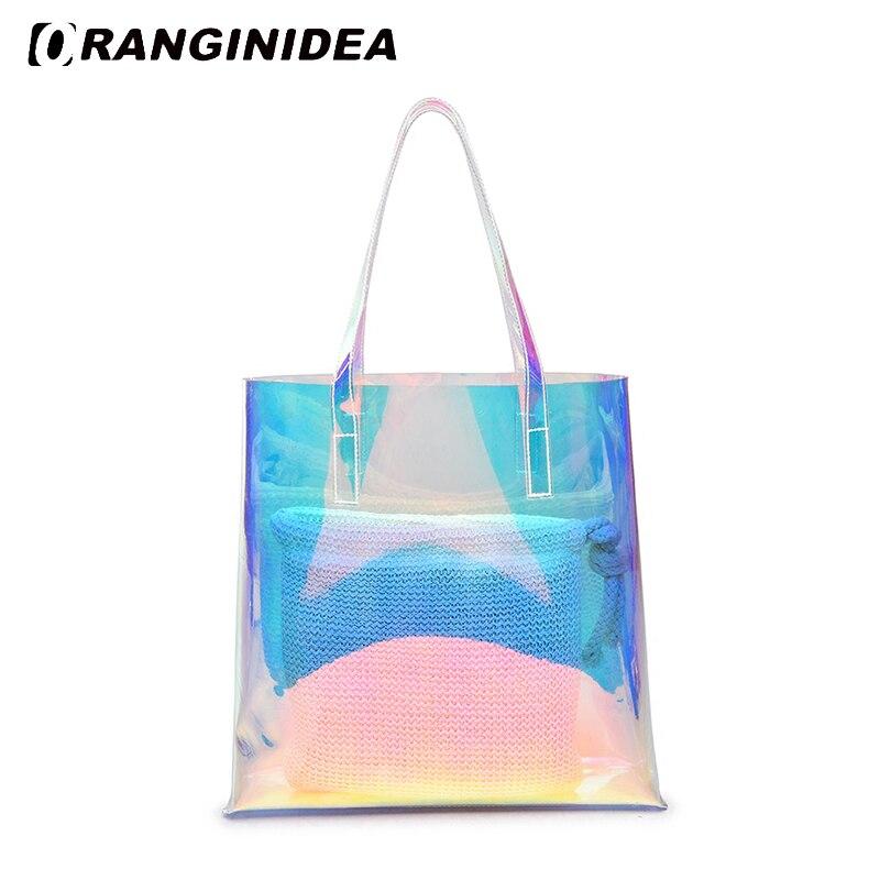 Hologram Transparent Handbags 2018 New Fashion Summer Beach Shopping Bags  Laser Jelly Composite Bag Travel Lady