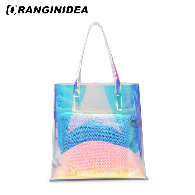 a8d5653f46 Hologram Transparent Handbags 2018 New Fashion Summer Beach Shopping Bags  Laser Jelly Composite Bag Travel Lady
