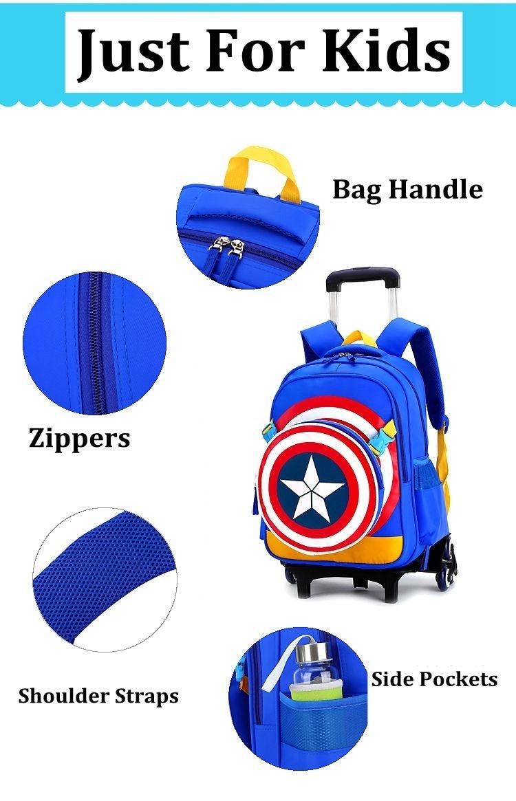 Kids Boys Wheels Blue Backpack Bag Luggage Rolling School Book Pack Trolley Bags