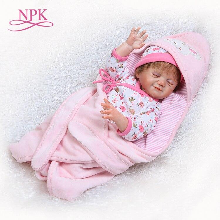 NPK Promotion lifelike real touch babydolls full vinyl girl cute sleep doll for children Birthday Christmas gift