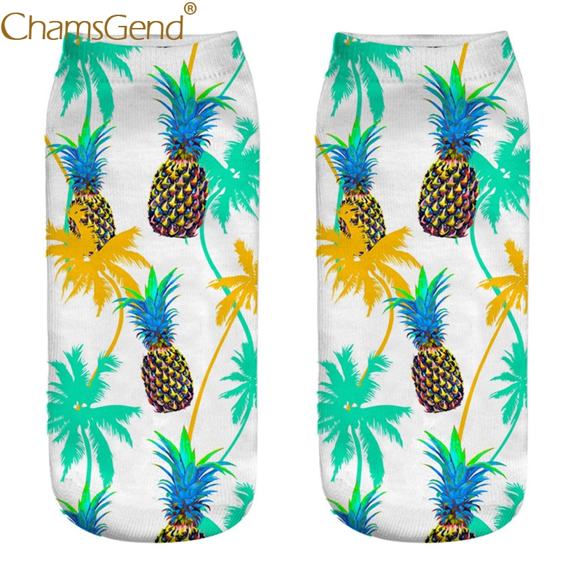 Chamsgend Drop Shipping Women Girls Pineapple Fruit Print Cotton Socks Meia 80402