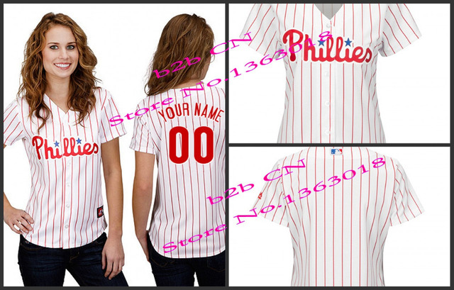 Hot sale Womens Philadelphia Phillies Custom blank Baseball Jersey  Personalized any name and number stitched Embroidery logos 40aaca3bd2c
