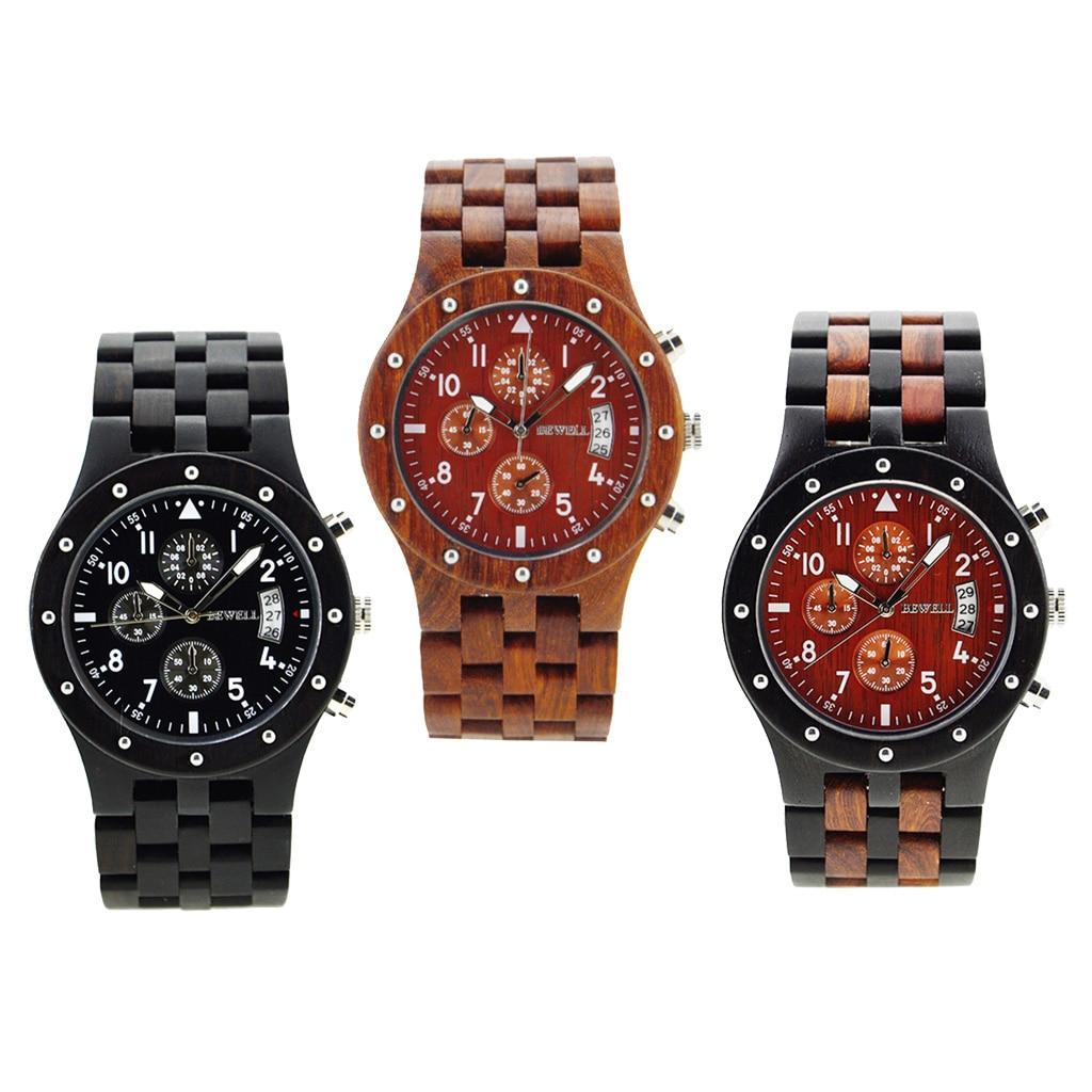 Bewell Sub-dials Wooden Watch Quartz Analog Movement Date Wrist Watch все цены