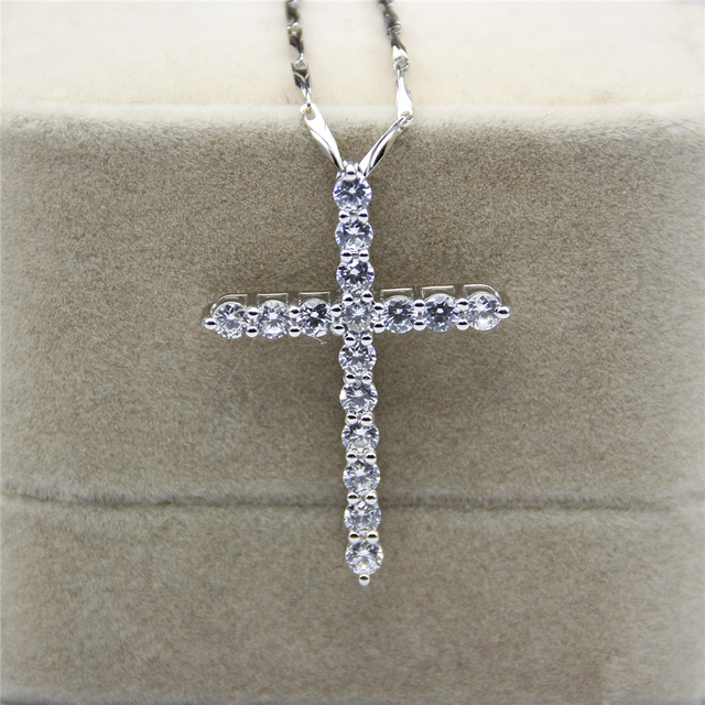 LASAMERO Religious Cross ASCD Simulated Diamond Cross Pendant 925 Sterling Silver Fine Jewelry Pendant Pave Set Chain Necklace