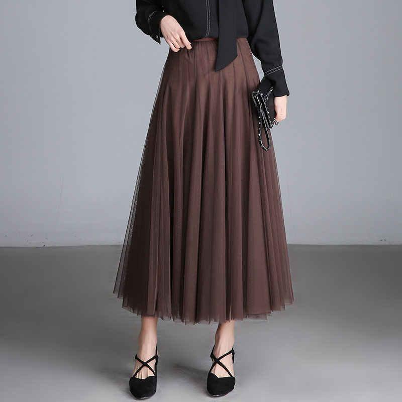 Женская плиссированная юбка, эластичная, высокая талия, макси, фатиновая юбка, Saia Longa размера плюс, элегантные длинные юбки-пачки для женщин, s Jupe Femme C4127