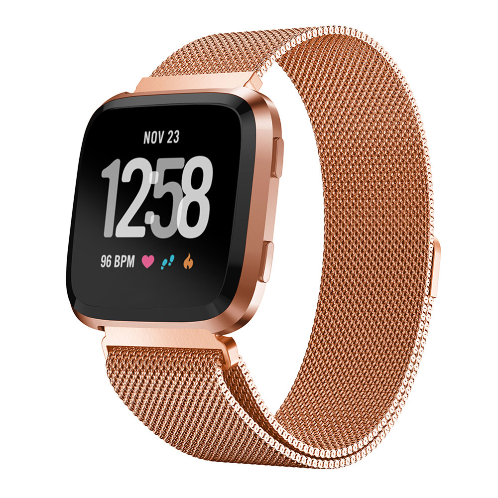 Stainless steel Milan wrist band replacement strap For Fitbit Versa smart watch bracelet Magnetic buckle watchband accessories in Watchbands from Watches