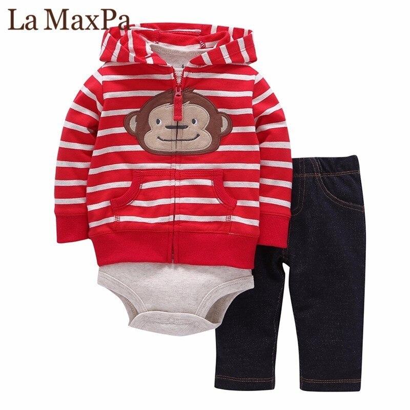 2018 Hot Sale Baby Clothing 3 Pieces Coat+bodysuit+pant Set Baby Boy Girls Fleece Suit Bebes Meninos Spring Autumn Kids Clothes