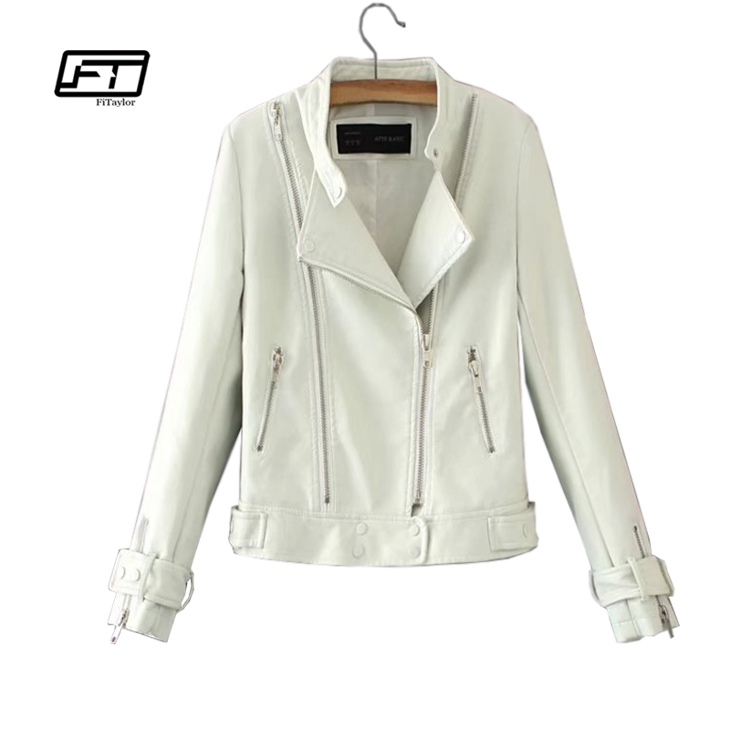 29bf31759 Fitaylor Punk Motorcycle Women Jacket Black White Rivet Faux Soft Leather  Jackets PU Blazer Zippers Coat Outerwear