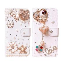 Luxury Handmade Phone Cases Bling Diamond Rhinestone Case for iPhone 5C Leather Wallet DIY Mobile Phone