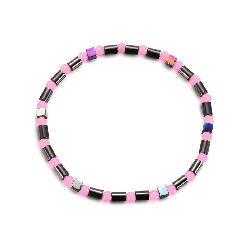 New Fashion Presents Anklet  for Women Men Rainbow Hematite Anklet Pink Acrylic Beads Magnetic Foot Jewelry