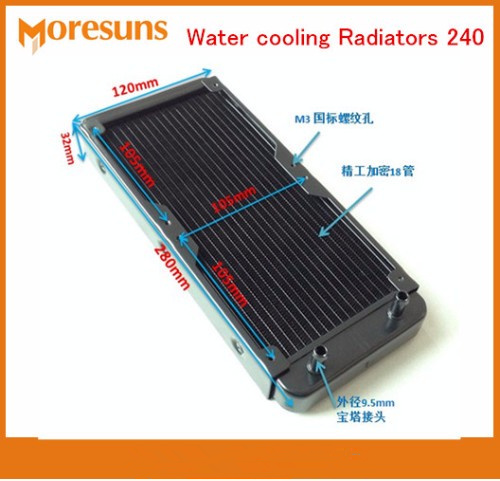 Fast Ship Water Cooling Radiator 240 Pure Aluminum Water Cooled Cooling 18 Tube laptop Desktop Cold Type Tube Heat Exchanger 5pcs lot pure copper broken groove memory mos radiator fin raspberry pi chip notebook radiator 14 14 4 0mm copper heatsink
